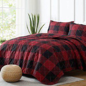 New Red & Black King 3 Piece Westport Woodland Check Reversible Quilt Set